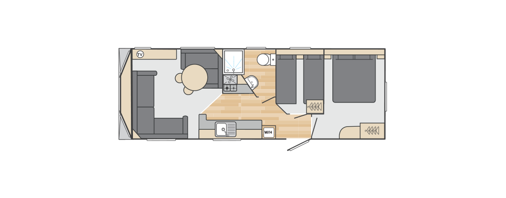 Loire 28' x 10' 2 Bedroom floorplan