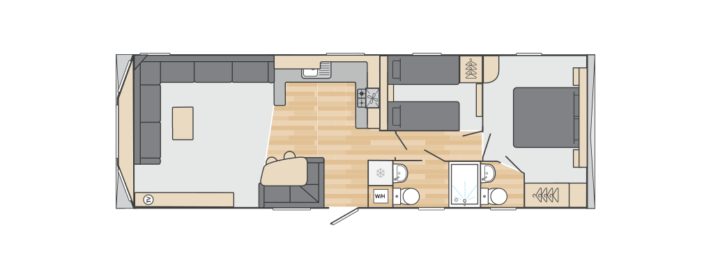 Loire 35' x 12' 2 Bedroom floorplan