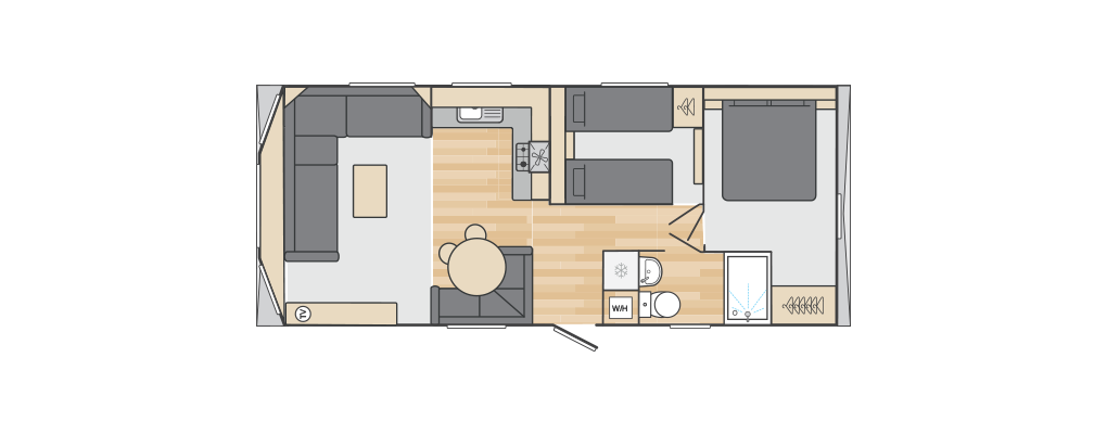 Loire 28' x 12' 2 Bedroom floorplan