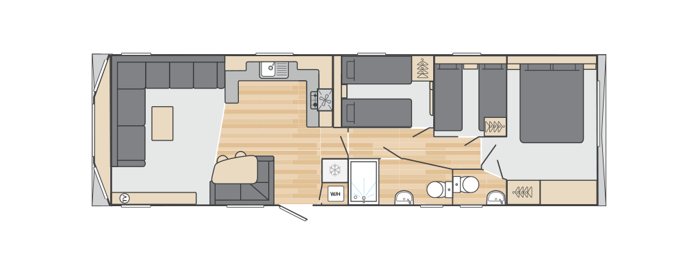 Loire 38' x 12' 3 Bedroom floorplan