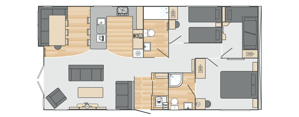Toronto Lodge 42' x 20' 3 Bedroom floorplan