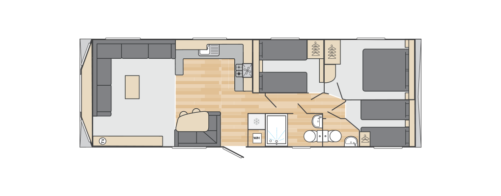 Loire 35' x 12' 3 Bedroom floorplan