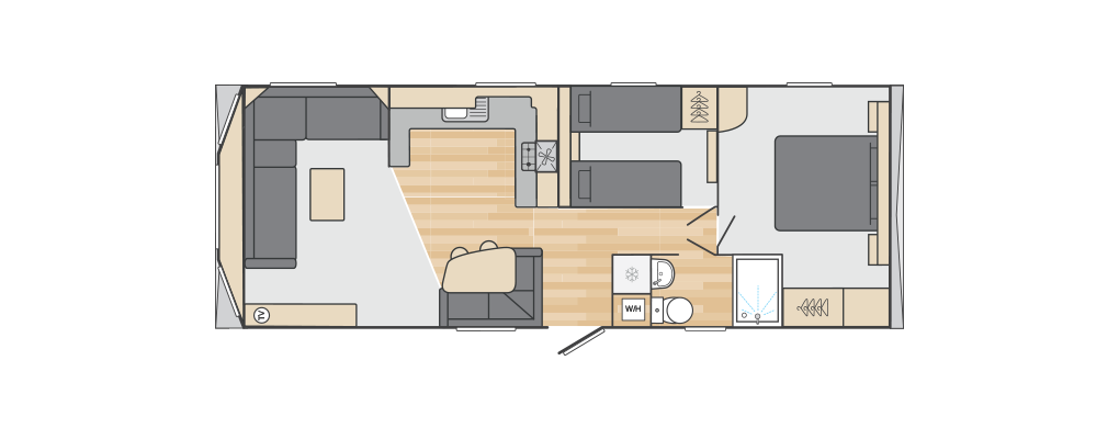 Loire 32' x 12' 2 Bedroom floorplan