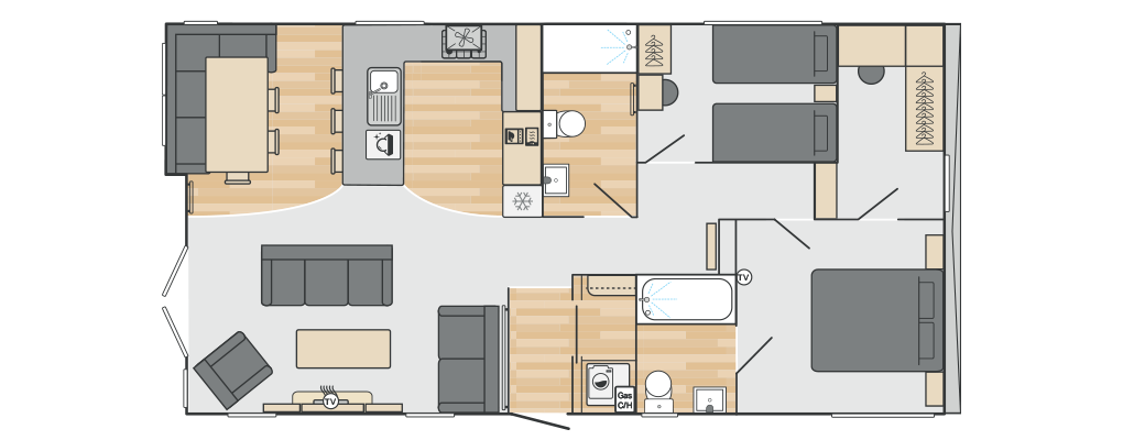 Toronto Lodge 40' x 20' 2 Bedroom floorplan