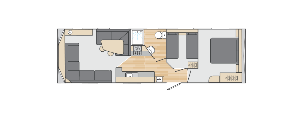 Loire 32' x 10' 2 Bedroom floorplan